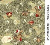vector vintage seamless... | Shutterstock .eps vector #758995381