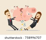 businessman and business woman... | Shutterstock .eps vector #758996707