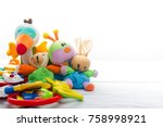 baby toys frame. copy space for ... | Shutterstock . vector #758998921