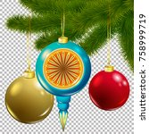 christmas vector tree... | Shutterstock .eps vector #758999719