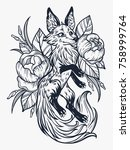 fox on floral in vintage style. ... | Shutterstock .eps vector #758999764