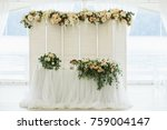 decorated banquet hall with... | Shutterstock . vector #759004147