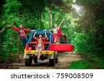 group of people hiking and... | Shutterstock . vector #759008509