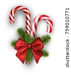 christmas candy canes with red... | Shutterstock .eps vector #759010771