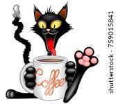 happy and funny cat cartoon... | Shutterstock .eps vector #759015841