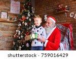santa claus  sitting on... | Shutterstock . vector #759016429
