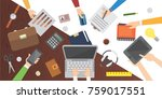 workplace. office table. work... | Shutterstock .eps vector #759017551