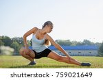 strong beautiful sporty female... | Shutterstock . vector #759021649
