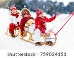 little girl and boy enjoy a... | Shutterstock . vector #759024151