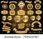 retro golden sale ribbons and... | Shutterstock .eps vector #759024787