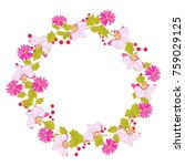 red  wildflowers  wreath ... | Shutterstock .eps vector #759029125