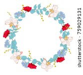 red  roses  wreath  flowers ... | Shutterstock .eps vector #759029131