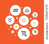 flat icons comet  zodiac sign ... | Shutterstock .eps vector #759037279