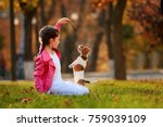 portrait of a little girl on a... | Shutterstock . vector #759039109