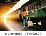 woman traveler tourist walking... | Shutterstock . vector #759042637