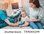 doctor and little boy patient.... | Shutterstock . vector #759045199