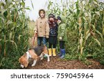 two brothers and sister with... | Shutterstock . vector #759045964