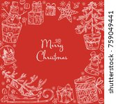 christmas and new year card... | Shutterstock .eps vector #759049441
