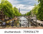 bicycles on a bridge over the... | Shutterstock . vector #759056179