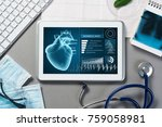 white tablet pc and doctor... | Shutterstock . vector #759058981