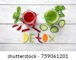 word detox made of ingredients... | Shutterstock . vector #759061201