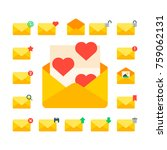 email envelope cover icons... | Shutterstock .eps vector #759062131