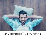 top view of smiling man with... | Shutterstock . vector #759070441