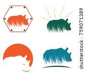 Rhino Rhinoceros Grass Logo...