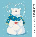 Cute White Polar Bear With Red...