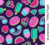 cute seamless pattern with... | Shutterstock .eps vector #759077665