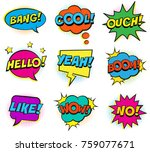 retro colorful comic speech... | Shutterstock .eps vector #759077671