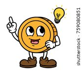 cartoon coin character with idea | Shutterstock .eps vector #759080851