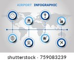 infographic design with airport ... | Shutterstock .eps vector #759083239