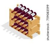 isometric red wine bottles... | Shutterstock .eps vector #759083599