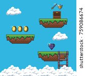 pixelated game scenery icons... | Shutterstock .eps vector #759086674