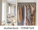 wooden wardrobe with clothes... | Shutterstock . vector #759087169