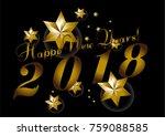 vector 2018 happy new year... | Shutterstock .eps vector #759088585