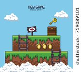 pixelated game scenery icons... | Shutterstock .eps vector #759089101