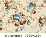 Stock photo beautiful rose vintage flower pattern with soft ground 759091594