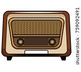 vintage radio stereo pop art... | Shutterstock .eps vector #759092491