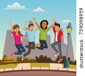 friends jumping in the city | Shutterstock .eps vector #759098959