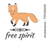 cute hand drawn doodle fox and... | Shutterstock .eps vector #759100345