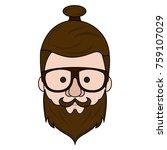hipster face cartoon | Shutterstock .eps vector #759107029