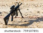 an ar 15 sits on its bi pod on... | Shutterstock . vector #759107851