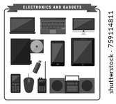 electronic and gadgets pack... | Shutterstock .eps vector #759114811