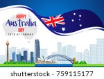 26 january happy australia day. ... | Shutterstock .eps vector #759115177