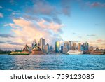 downtown sydney skyline in... | Shutterstock . vector #759123085