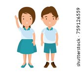 little students with uniform... | Shutterstock .eps vector #759126559