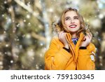 girl walking in forest on... | Shutterstock . vector #759130345