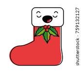 christmas sock kawaii character | Shutterstock .eps vector #759132127